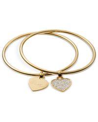 Michael Kors - Pink Gold-Tone Heart Charm Bangle Bracelets - Lyst