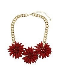 TOPSHOP | Spike Flower Collar  Red | Lyst