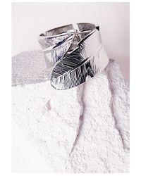 Missguided | Metallic Leaf Detail Cuff Silver | Lyst