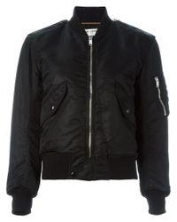 Saint Laurent - Black Cropped Bomber Jacket for Men - Lyst