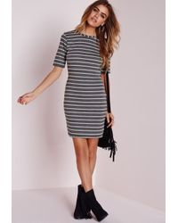 Missguided - Gray Petite Short Sleeve Knitted Stripe Bodycon Dress Grey - Lyst