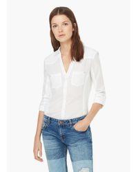 Mango - White Ribbed Panel Shirt - Lyst