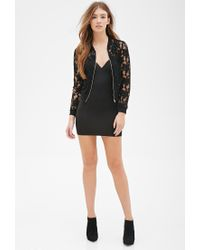 Forever 21 | Black Floral Lace Bomber Jacket You've Been Added To The Waitlist | Lyst