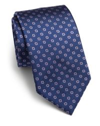 Saks Fifth Avenue - Blue Diamond Neat Silk Tie for Men - Lyst