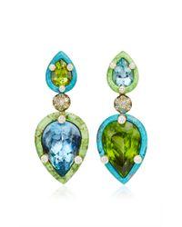 Nicholas Varney | Green Aquamarine Peridot Diamond Gaspeite and Turquoise Duo Earrings | Lyst