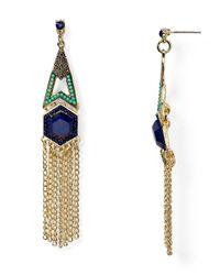 Aqua Metallic Kelly Fringe Chandelier Earrings