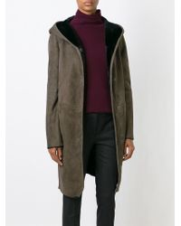 Etro - Brown Hooded Shearling Coat - Lyst