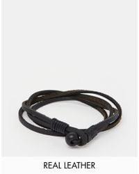 ASOS - Double Wrap Leather Bracelet In Black for Men - Lyst
