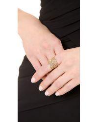 Aurelie Bidermann Metallic Vintage Lace Ring - Gold