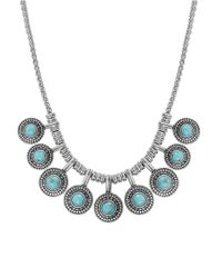 Lucky Brand | Metallic Silver-tone Reconstituted Turquoise Collar Necklace | Lyst
