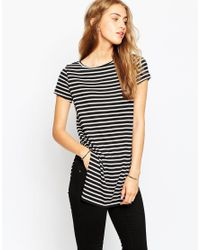 ASOS | Blue Longline Top In Stripe With Side Split | Lyst