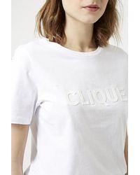 TOPSHOP - White 3D Clique Slogan Tee - Lyst