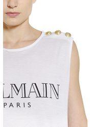 Balmain White Logo Printed Cotton T-shirt