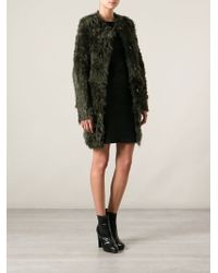 DROMe - Green Fur Coat - Lyst