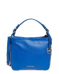 MICHAEL Michael Kors Blue 'large Essex' Leather Shoulder Bag