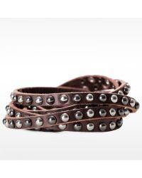 Linea Pelle | Brown Double Wrap Mixed Stud Bracelet | Lyst