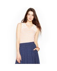 Maison Jules - Multicolor Lace Striped Tank - Lyst