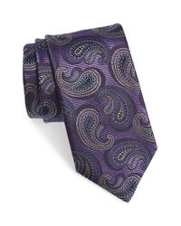 Canali Purple Paisley Silk Tie for men