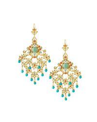 Jose & Maria Barrera - Metallic Crystal Chandelier Drop Earrings - Lyst