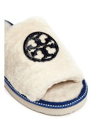Tory Burch White Logo Patch Shearling Slippers