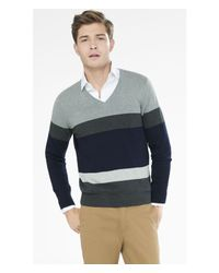 Express - Gray Mixed Stripe V Neck Sweater for Men - Lyst