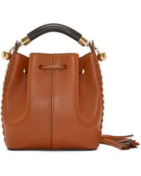 Chloé Brown Leather Cross_stitch Small Gala Bucket Bag
