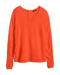 H&M - Orange Fine-Knit Jumper - Lyst