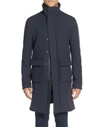 Vince - Blue 'city' Stand Collar Overcoat for Men - Lyst