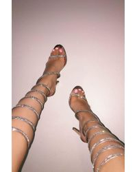 Akira - Pink All Legs Wrap Around Bling Heeled Sandals - Lyst