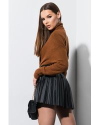 Akira Black She's Got It Pleated Pleather Mini Skirt