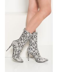 Akira Multicolor How Could You Not Snakeskin Stiletto Pointed Toe Booties