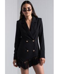 Akira Black Take It Offline Fringe Blazer Mini Dress