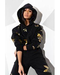 Adidas Black Womens Large Logo Cropped Hoodie