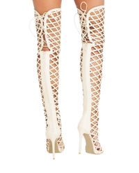 AKIRA Natural Thigh-High Caged Peep-Toe Studded Boots