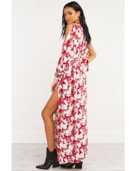 AKIRA Red Floral Fantasy Maxi Dress