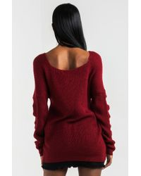 Akira - Red In Due Time Crossover Sweater - Lyst