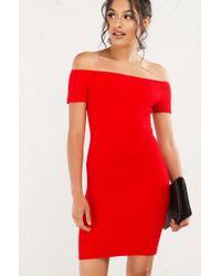 Akira Red It Is What It Is Off Shoulder Mini Dress
