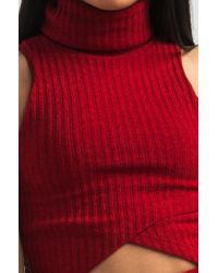 Akira Red Actually Yours Turtleneck Knitted Crop Top