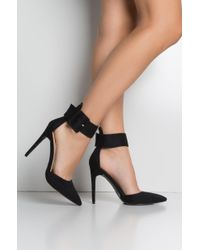 Akira Black Leading You On Buckle Strap Pointed Toe Pump