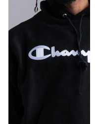 Champion - Black Reverse Weave Stitch Script Hoodie for Men - Lyst