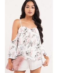 AKIRA - White Just Around The Riverbend Off Shoulder Top - Lyst