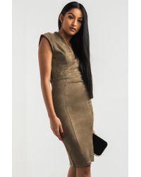 Akira Green Doin Well Suede Midi Dress