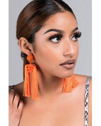 Akira - Orange Wanderlust Fringe Earring - Lyst
