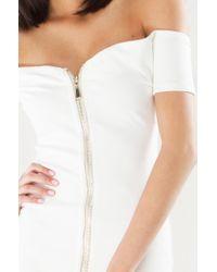 Akira - White Side Bae Off Shoulder Zipper Mini Dress - Lyst