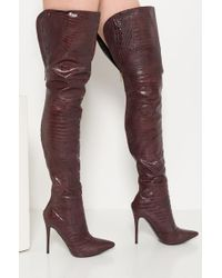 Akira Purple Croc It To Me Heeled Over The Knee Boots