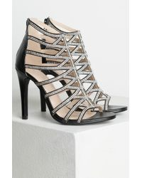 Akira - Black Will You Dance With Me Rhinestone Stiletto Sandals - Lyst