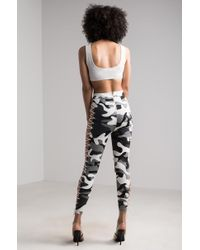 Akira - Gray We Salute You Camo Lace Up Leggings - Lyst