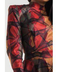 Akira Red Poison Printed Ruffle Hem Dress