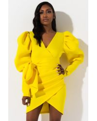 Akira Yellow Madly In Love Puffy Sleeves Mini Dress