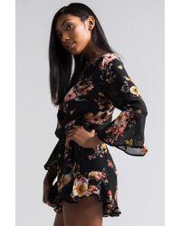 Akira - Black Natural Beauty Floral Romper - Lyst